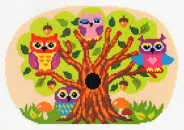 Latch Hook Rug Pattern Chart And Canvas Blank For Bright Owl Tree Brand New Not Ex Kit