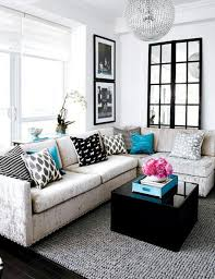 white living room furniture small. white fabric small living room sofa black pattern decorative cushions grey wool floor rug furniture