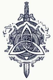 Fototapeta Keltští Draci A Meč Symbol Vikingů Helma Awe Aegishjalmur