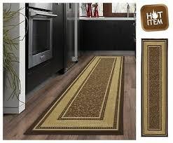 oriental runner rug chocolate non skid rubber backing hallway carpet 20
