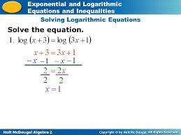 3 solving logarithmic equations