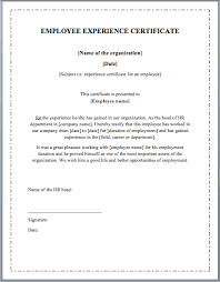 Experience Letter Template Word Work Experience Certificate Template