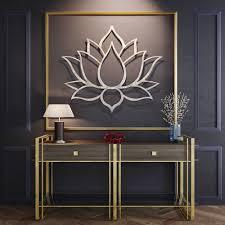 lotus flower large 3d metal wall art meditation wall art modern sculpture meditation room decor yoga studio wall art buddha wall art