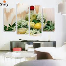 lemon juice flower leaves canvas painting modern wall paintings for kitchen wall home decor paint on