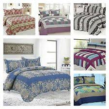 cotton quilted throws. Brilliant Quilted 100 Cotton Quilted 3 Piece Comforter Bed Throw Set Double Kingsize  BedSpread Inside Throws N
