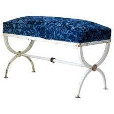 blue velvet bench. Neoclassical Iron And Velvet Curule Bench, France, 1940s Blue Bench S