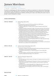 Information Technology Specialist Resume Samples Templates
