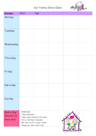 Family Chore Chart Template Family Chore Chart Sample Templates At