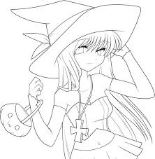Anime Girl Coloring Pages Easy Great Free Clipart Silhouette