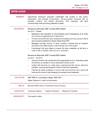 Stockroom Assistant Sample Resume Stockroom Assistant Sample Resume Retail Store Associate 1