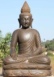 stone peaceful buddha statue with lotus finial 39 102ls394 hindu s buddha statues