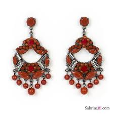 chandelier earrings with red stones and crystals