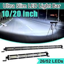 10/<b>20 inch Ultra</b>-<b>Thin</b> LED Light Bar Combo Beam Spot Flood Beam ...