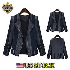 details about plus size women s las suede leather jacket flight coat zip up biker tops usa