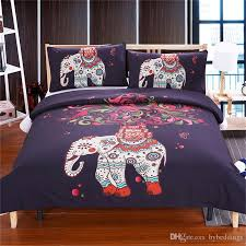 3d bohemian africa elephant bedding set watercolor print black bed set kids girl flower duvet cover twin full queen king all size bedding for teens bedding