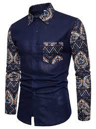 African Print Men S Shirt Designs Printed Lapel Pocket Mens Shirt African Men Fashion