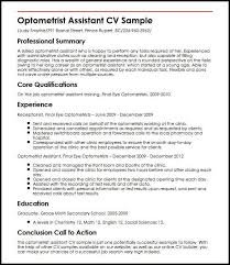 Optometrist Assistant Cv Sample Myperfectcv