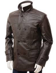 men s peacoat brown leather fashion coat return to previous page zoom images
