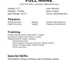 Musical Theatre Resume Musical Resume Template Picture Theatre Auditionc Curriculum Vitae 76