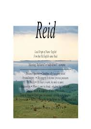 reid name. reid name means red haired