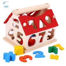 Game Played With Wooden Blocks XFC Kids Baby Wooden Digital Number House Building Blocks Toy Play 89