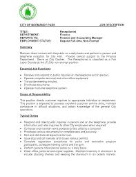 Receptionist Job Description Resume Format For Beautiful Sample