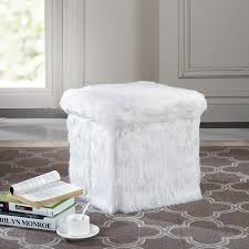 faux fur storage ottoman. Mainstays Faux Fur Collapsible Storage Ottoman To