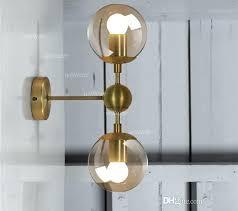electric wall sconces modern lighting. Gold Wall Lamp Modern Sconce Light Glass Shade Lighting Iron Fixture Lights 1 Globe 2 Globes Golden Electric Sconces
