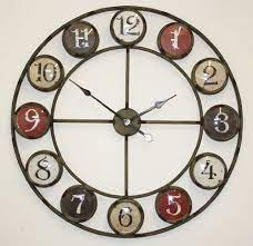large metal wall clock with coloured