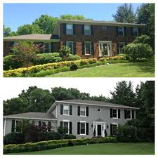 House With Black Trim Painted Brick Gray But I Like The Idea Of White Accents Instead Of