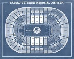 Print Of Vintage Nassau Veterans Memorial Coliseum Seating Chart On Your Choice Of Photo Paper Matte Paper Or Stretched Canvas