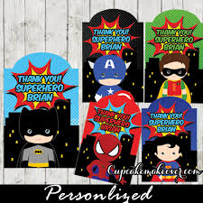 Personalized Superheroes Comic Superhero Party Favor Tags Personalized