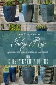 large ceramic linea planter indigo rain
