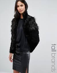 black fur jackets vero moda tall patchwork faux fur jacket