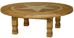 round julio star mexican rustic pine coffee table with inlaid marble