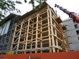 Wooden office buildings Structural Timber Though Its Certainly Beautiful In Its Completed State Photos Of This Office Building During The Construction Process Are Almost More Interesting To Look Eastern White Pine This Office Buildings Wooden Frame Was Built Without Fasteners Or
