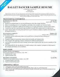 Dancer Resume Examples - Examples of Resumes