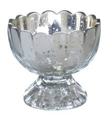 footed mercury silver bowl