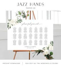 Wedding Seating Chart Wording Wedding Seating Chart Template With Greenery And White