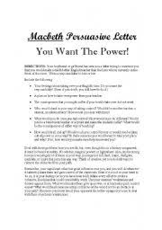 english teaching worksheets macbeth english worksheets macbeth persuasive letter