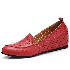 women casual shoes high increase loafers soft leather shoes breathable moccasins red