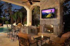 outdoor fireplace with tv