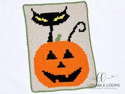 Crochet Halloween Black Cat Jack O Lantern C2c Blanket