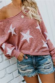<b>Fashionable</b> Stars Pattern Long Sleeve One-Shoulder Loose Knitted ...