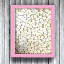 personalized wedding guest book frame rustic wooden hearts alternative drop top guestbook for signature heart box