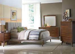 Mid Century Modern Bedroom Brown Paint Walls And Table Lamp Mid Century Bedroom Ideas White Baseboard And Table Lamp Brown Laminated Wooden Bed Brown Laminated Floringjpg