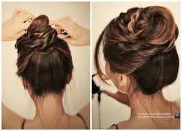 cute messy bun with braids ballerina twisted updo hairstyle