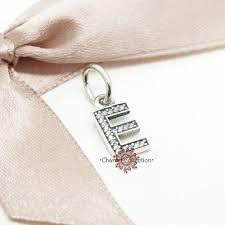 details about genuine pandora alphabet initial letter e necklace pendant charm 791317cz