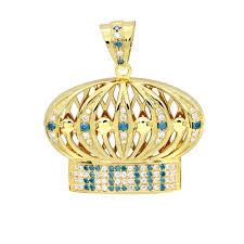 custom made jewelry white blue diamond crown pendant for men in 14k gold