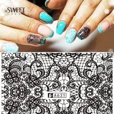 1 Sheets Lace Flower Pattern Nail Art Stickers Black Lace Full ...